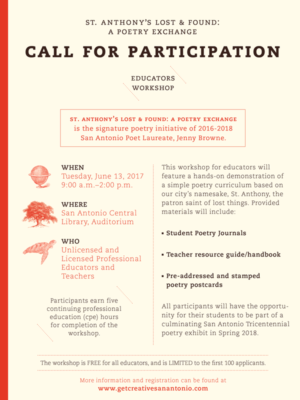 St. Anthony's Lost & Found: A Poetry Exchange Educator's Workshop Call for Participation